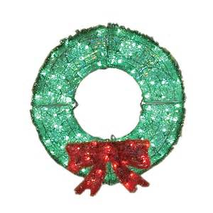 shop holiday living 3 ft plastic green led christmas wreath at lowes com