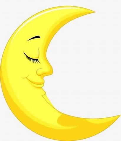 Moon Cartoon Clipart Crescent Drawing Luna Half