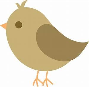 Cute Brown Bird - Free Clip Art