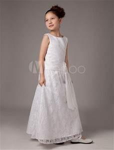 white sash satin first communion dress milanoocom With robe de communion orchestra
