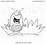 Grass Flea Cartoon Clipart Coloring Vector Outlined Thoman Cory Royalty sketch template