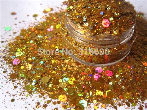 Rainbow Gold Solvent Resistant Holographic Glitter For