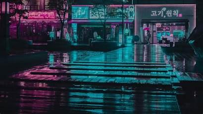 Vaporwave Night Neon 4k Facades During Incheon