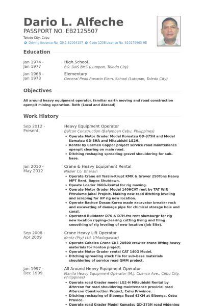equipment operator resume sles visualcv resume