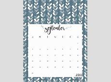 Cute Free Printable September 2018 Calendar Calendar