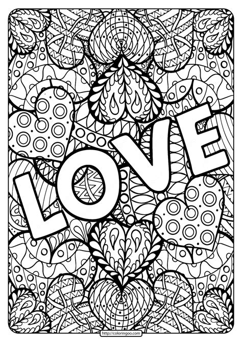 Free Printable LoveColoring Page