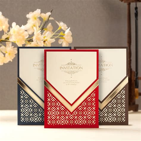 2018 100pcs/lot Elegant Laser Cut Wedding Invitations Card
