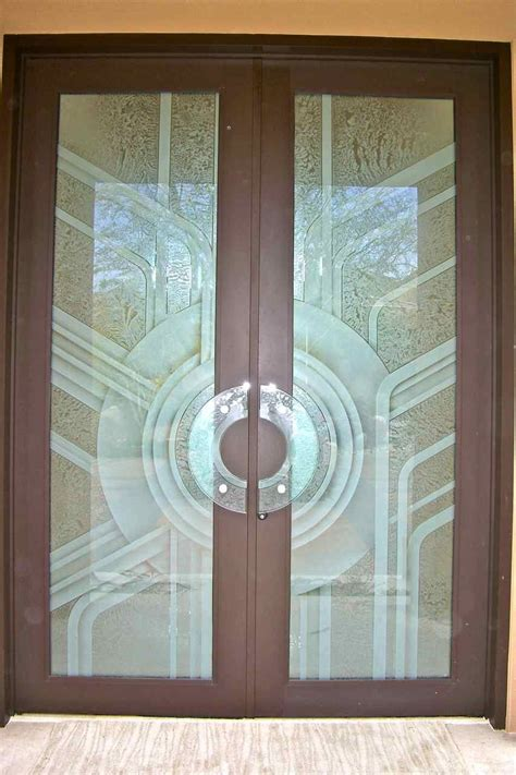 etched glass door geometric art deco contemporary glass