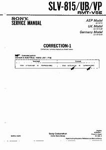 Sony Slv-815  Slv-815ub  Slv-815vp Service Manual
