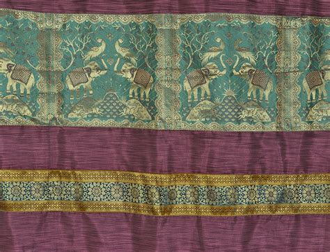 indian curtain fabric silk elephant jacquard living room