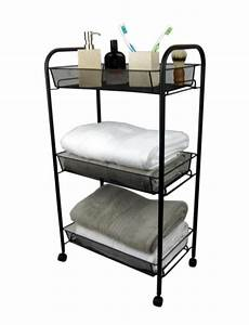 3 tier bathroom storage trolley toiletry linen cart black With bathroom cart on wheels