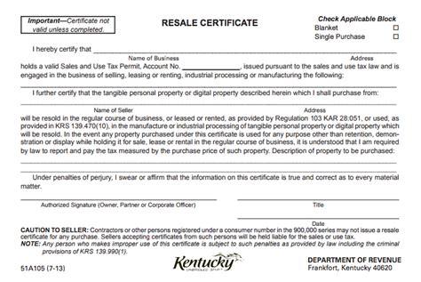 kentucky resale certificate
