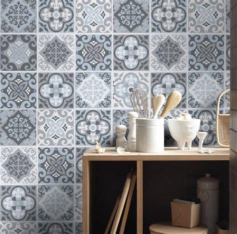 cuisine cr鑪e vintage bleu gris carreaux sticker de décoration pour