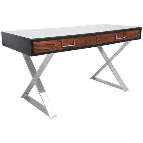 milo baughman rosewood desk milo baughman two drawer x base caign desk in rosewood