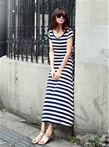 robes elegantes france robe longue rayee bleu et blanc With robe rayée noir et blanc