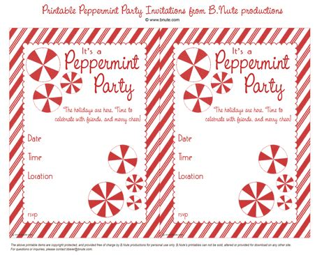 printable christmas invitations bnute productions free printable peppermint party invitations