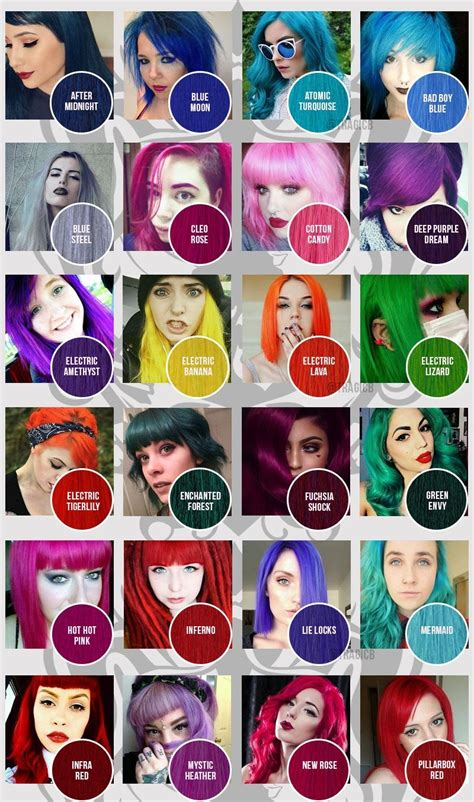 manic panic color chart manic panic colour chart classic dyes hair in 2019