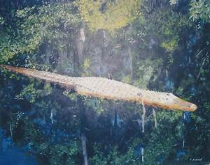 Alligator In The Okefenokee Swamp Painting by Terry Forrest