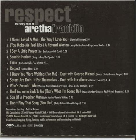 aretha franklin respect the best of aretha franklin respect the best of uk promo cd album