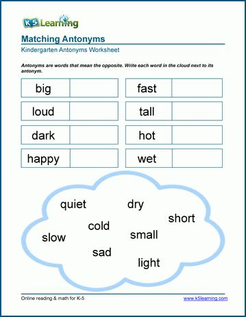 antonyms worksheets k5 learning 655 | kindergarten matching write%20word antonyms 1