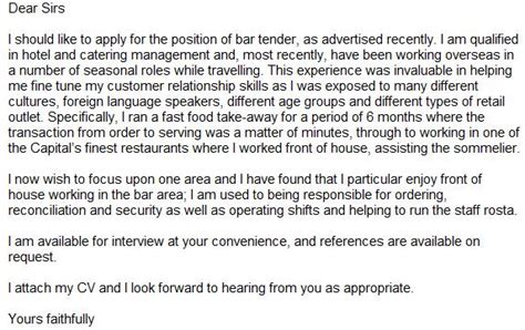 cover letter exle cover letter exle bar staff