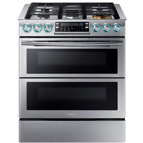 samsung flex duo 5 8 cu ft slide in oven gas range with self cleaning convection oven