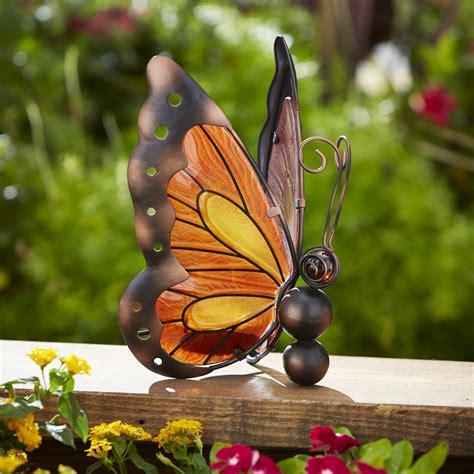 essential garden solar butterfly decoration yellow