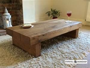 Oak beam sleeper coffee table solid oak rustic handmade for Wood beam coffee table