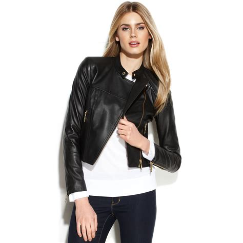zip up cropped jacket lyst michael kors michael cropped leather moto jacket in