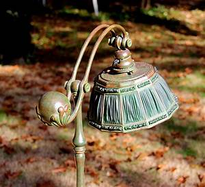 chasenantiquescom lamps tiffany studios 10quot green With tiffany linenfold floor lamp