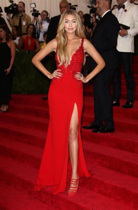 Pinterest: @barbphythian || Gigi Hadid | Red gown | Red ...