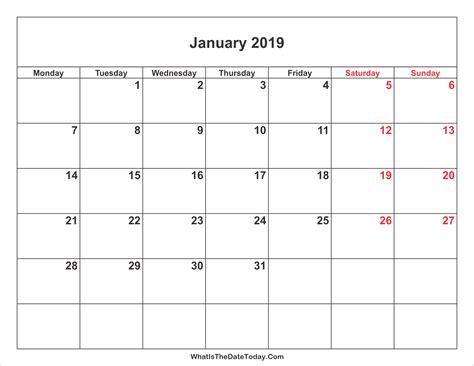 january  calendar  weekend highlight