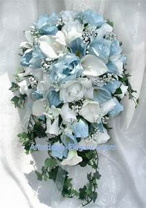 Light Blue White CALLA LILY ROSES Bridal Cascade BOUQUET ...