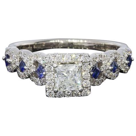 vera wang princess diamond sapphire halo engagement ring at 1stdibs