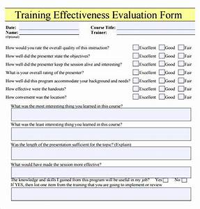 Training evaluation form 17 download free documents in for Training effectiveness evaluation form template