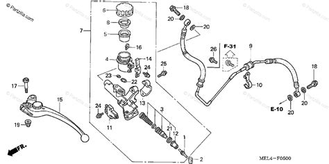honda motorcycle 2005 oem parts diagram for clutch master cylinder partzilla