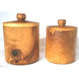 wooden kitchen storage jars olive wood coffee sugar containers set of 2 handmade 1646