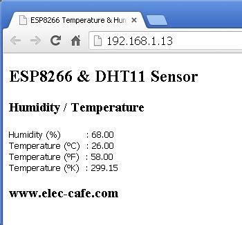 esp8266 temperature humidity webserver with a dht11 sensor elec cafe esp8266