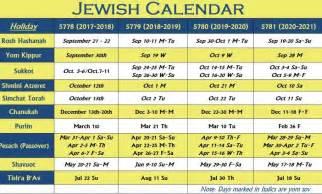 Hebrew Calendar Jewish Holidays 2017