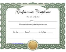 Godparent Certificate Template by Free Printable God Parents Certificates