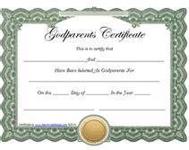 Free Printable God Parents Certificates