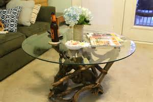 Driftwood and Glass Coffee Table
