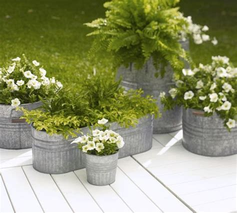Eclectic Galvanized Metal Planter, Medium  Metal Planters