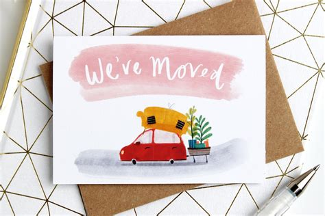 60% off holiday cards when you buy 60 or more | 20% off sitewide shop now > use code: 8 Mini We've Moved Announcement Cards | Katy Pillinger Designs