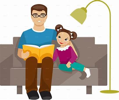 Father Daughter Dad Clipart Cartoon Clip Reading