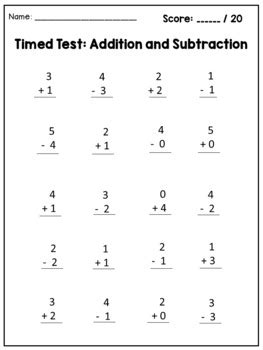 math facts fluency kindergarten addition  subtraction