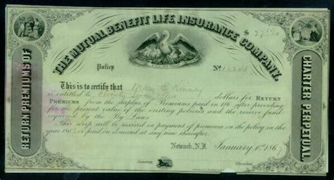 1867 the mutual benefit life insurance company policy certificate from curioshop on ruby lane