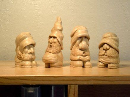 wood gnomes    giggle wood carving art