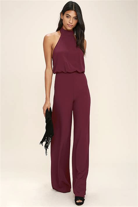 lulus jumpsuit chic wine jumpsuit halter jumpsuit wide leg