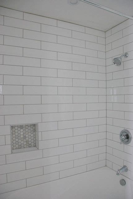 Subway Tile Kitchen Ideas - shower design subway tile and marble tile niche the sweetest digs